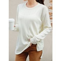 J-ANN - Round-Neck Brushed-Fleece T-Shirt