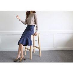 Hello sweety - Asymmetric-Hem Ruffle-Hem Plaid Skirt