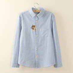 Tangi - Embroidered Cat Pinstriped Long-Sleeve Blouse