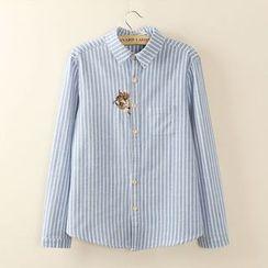 Tangi - 长袖刺绣猫猫细条纹衬衫