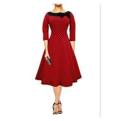 Forest Of Darama - Polka Dot 3/4-Sleeve A-Line Dress