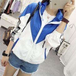 Yohana - Lettering Applique Color Panel Hooded Jacket