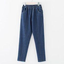 Meimei - Fray Hem Band Waist Jeans
