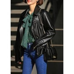 ssongbyssong - Zip-Detail Faux-Leather Jacket