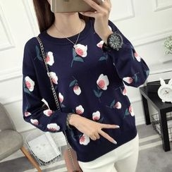 anzoveve - Floral Print Sweater