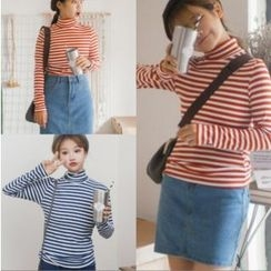 Whitney's Shop - Striped Long Sleeve Turtleneck T-Shirt