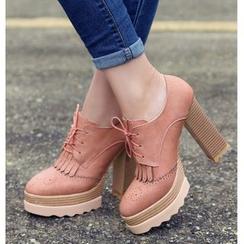 Freesia - 高跟布洛克牛津鞋