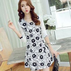 Bornite - Print Long-Sleeve A-Line Dress