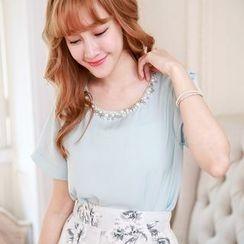 Tokyo Fashion - Embellished Short-Sleeve Top