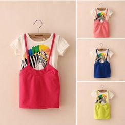 Seashells Kids - Kids Inset Zebra Print T-Shirt Pinafore Dress