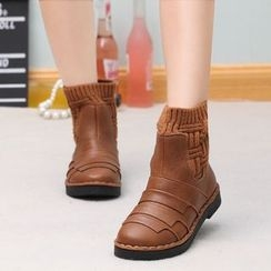 Yoflap - Knit Panel Ankle Boots