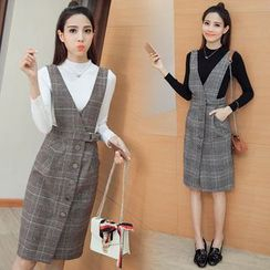 Iscat - Set: Mock Neck Long-Sleeve Knit Top + Buttoned Plaid Pinafore Dress
