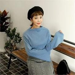 clicknme - Mock-Neck Wide-Cuff Brushed-Fleece Top