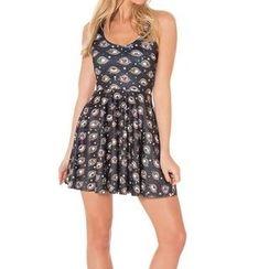Omifa - Sleeveless Eye-Print A-Line Dress