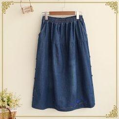 Fairyland - Embroidered Midi Washed Denim Skirt