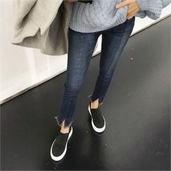 QNIGIRLS - Slit-Hem Seam-Detail Jeans
