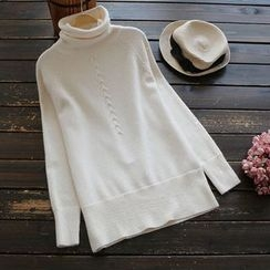 YOYO - Mock-Turtleneck Plain Sweater