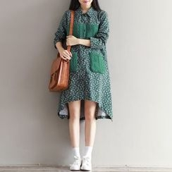 Emeline - Floral Print Cable Knit Panel Shirtdress
