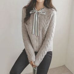 JUSTONE - Zip-Up Wool Blend Cable-Knit Cardigan