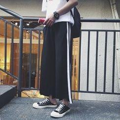 JUN.LEE - Contrast Trim Wide Leg Pants