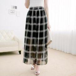 Tokyo Fashion - Elastic-Waist Check Chiffon Maxi Skirt
