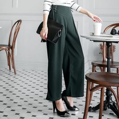 Tokyo Fashion - Lace Up Wide-leg Pants