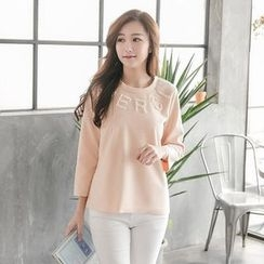 Tokyo Fashion - Long-Sleeve Faux Pearl Lettering Top