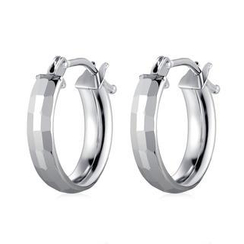 MaBelle - 14K/585 White Gold Diamond Cut Hoop Earrings
