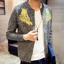 maxhomme - Embroidered Melange Knit Jacket