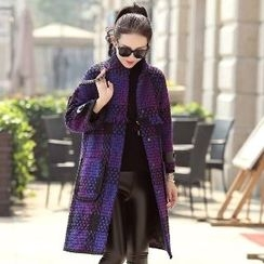 Romantica - Fringed Plaid Buttoned Coat