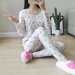 Viana Smile - Maternity Pajama Set: Print Long-Sleeve Top + Pants