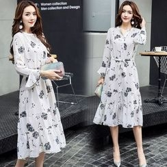 AiSun - Print Bell-Sleeve Dress