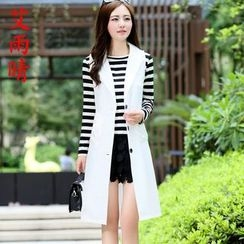 AiSun - Set: Stripe Long-Sleeve Top + Long Vest