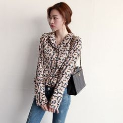 NIPONJJUYA - Notched-Collar Pattern Shirt