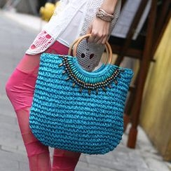 59 Seconds - Beaded Straw Tote