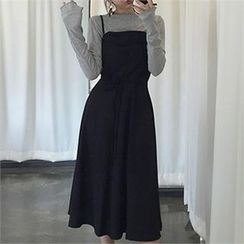 LIPHOP - Sleeveless Drawstring-Waist Long Dress