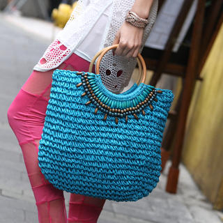 SO Central - Beaded Straw Tote