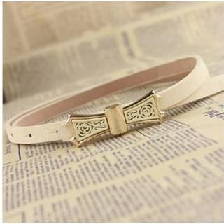 Charm n Style - Perforated Bow-Accent Slim Belt