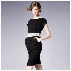 Elabo - Cap-Sleeve Dress with Belt