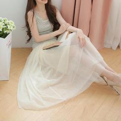 Tokyo Fashion - Banded-Waist Tulle Maxi Skirt