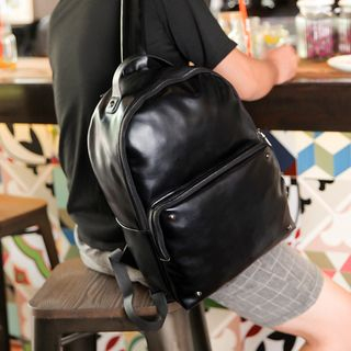 Golden Kelly - Faux-Leather Backpack