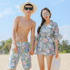 Sweet Splash - Couple Matching Floral Print Bikini + Cover Up / Swim Shorts
