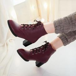幸福鞋坊 - 粗跟復古馬丁靴