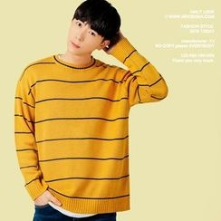 MEOSIDDA - Crew-Neck Striped Knit Top