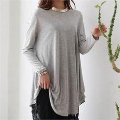 CHICFOX - Round-Hem A-Line T-Shirt