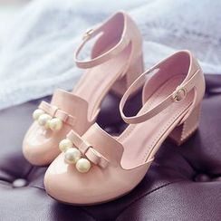 JY Shoes - Faux Pearl Bow Ankle Strap Patent Pumps