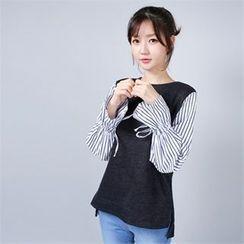 Styleberry - Inset Sleeveless Knit Top Stripe Shirt