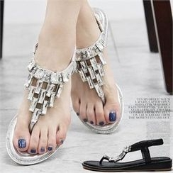 Reneve - Rhinestone Thong Wedge-Heel Sandals