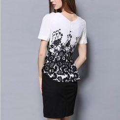 Rosesong - 假两件花朵印花短袖荷叶腰连衣裙