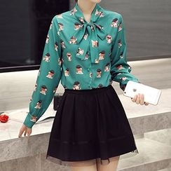 Romantica - Set: Long-Sleeve Tie-Neck Printed Blouse + Paneled A-Line Skirt